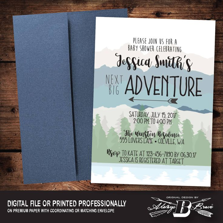 baby shower invitation for twins%0A Rustic Mountain Baby Shower   Adventure Begins Invitation   Woodsy Outdoor  Invitation   Woodland Invitation