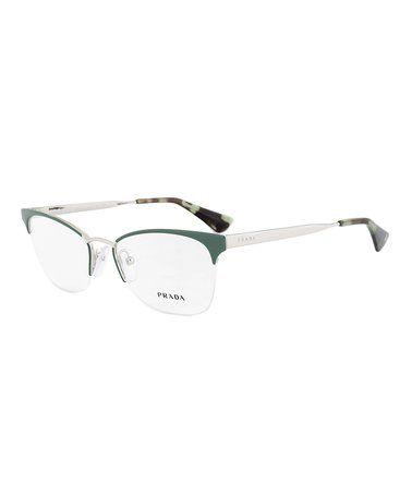 Another great find on #zulily! Green & Silvertone Partial-Rim Cat-Eye Eyeglasses #zulilyfinds