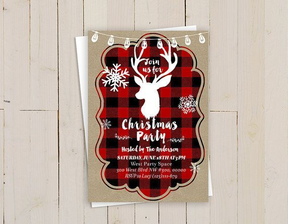 Lumberjack Christmas Party Invitation Wording can be changed for any occasion. --------------------------------------------------- This is DIGITAL FILE only, no physical items will be printed or mailed to you. What will you get: Invitation Card (5x7 size) - fits an A7 envelope If