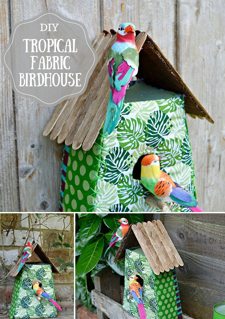 Gorgeous tropical fabric birdhouse - fun decoration, easy to make step by step tutorial and free template.