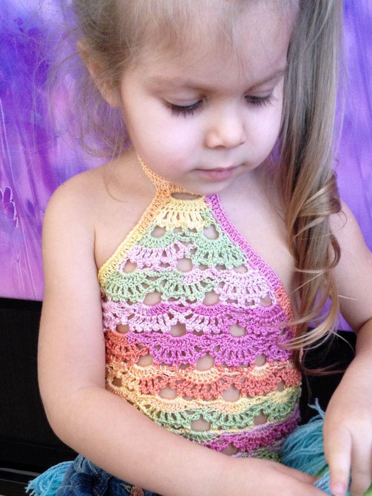 Light Rainbow crochet top/ Crochet Toddler Crop Top/ Crochet fringe bohemian top/ Girl crochet festival top/ Bab top/ Crochet halter top by ElenaVorobey on Etsy