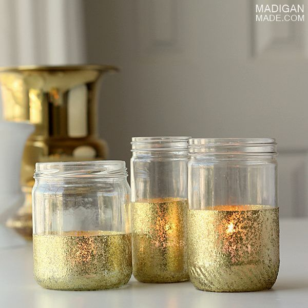 DIY glitter and gold painted jars. Step-by-step instructions.