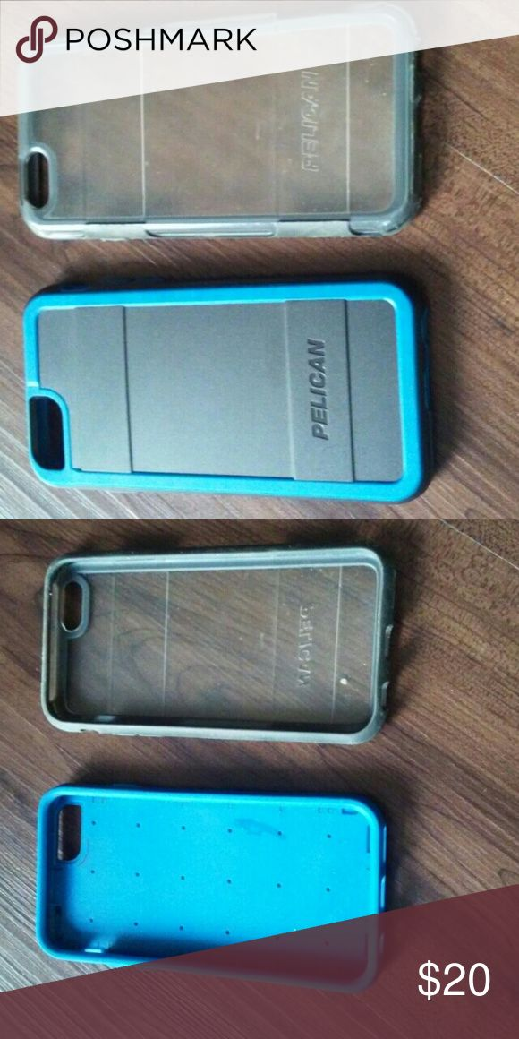 Pelican phone cases To Pelican phone cases for iPhone 6s. The blue one is brand new never used the translucent one is used to still in good condition two for $5 palican Accessories Phone Cases