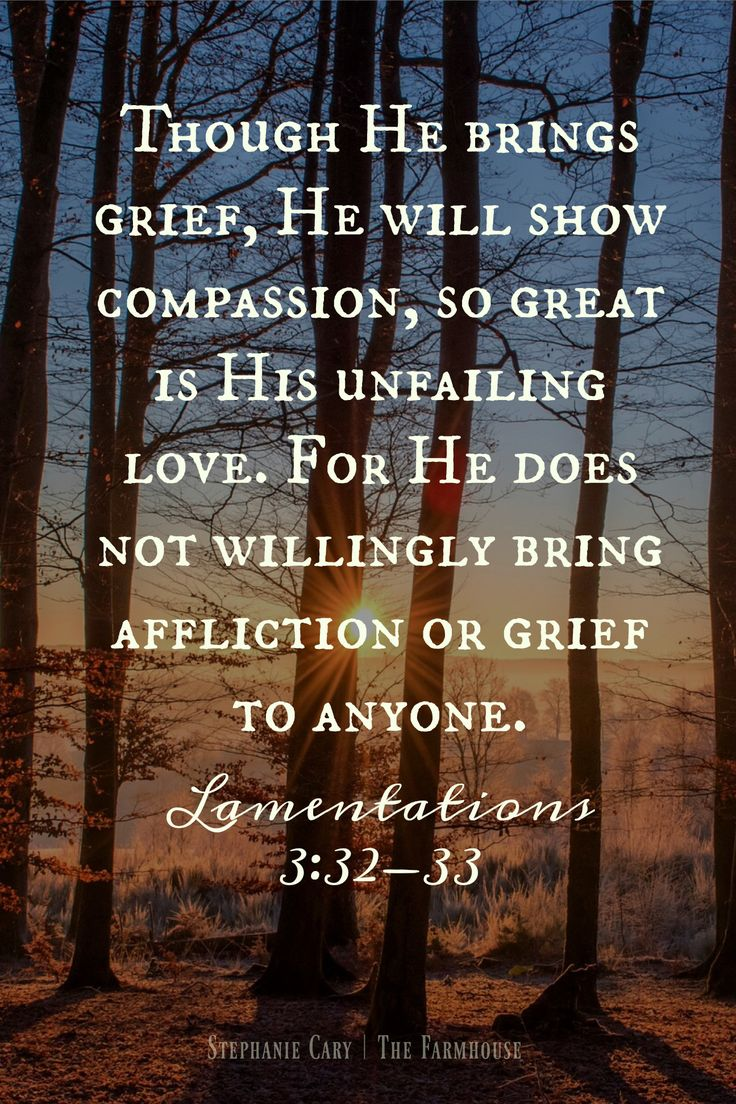"""Though He brings grief, He will show compassion, so great is His unfailing love. For He does not willingly bring affliction or grief to anyone."" -Lamentations 3:32-33 