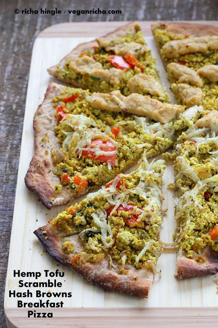 Hemp Tofu Scramble Breakfast Pizza topped with Hash Brown Potatoes. Vegan Recipe | Vegan Richa