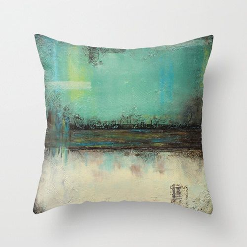 Sage green pillow Modern landscape Pillow cover by LizMosLoft, $27.00