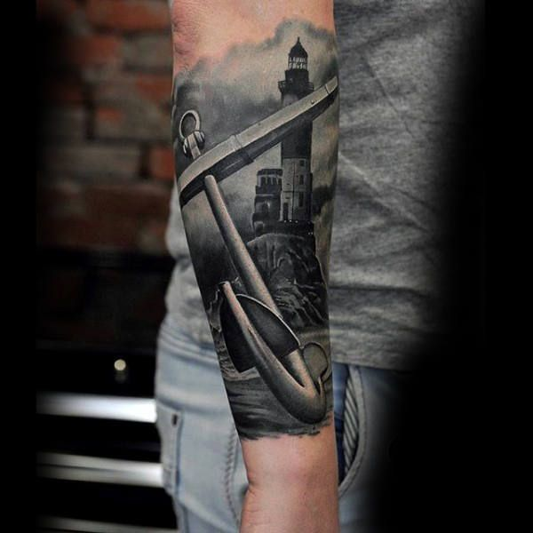 75 Black And White Tattoos For Men Masculine Ink Designs Tattoos For Guys Lighthouse Tattoo Tattoos