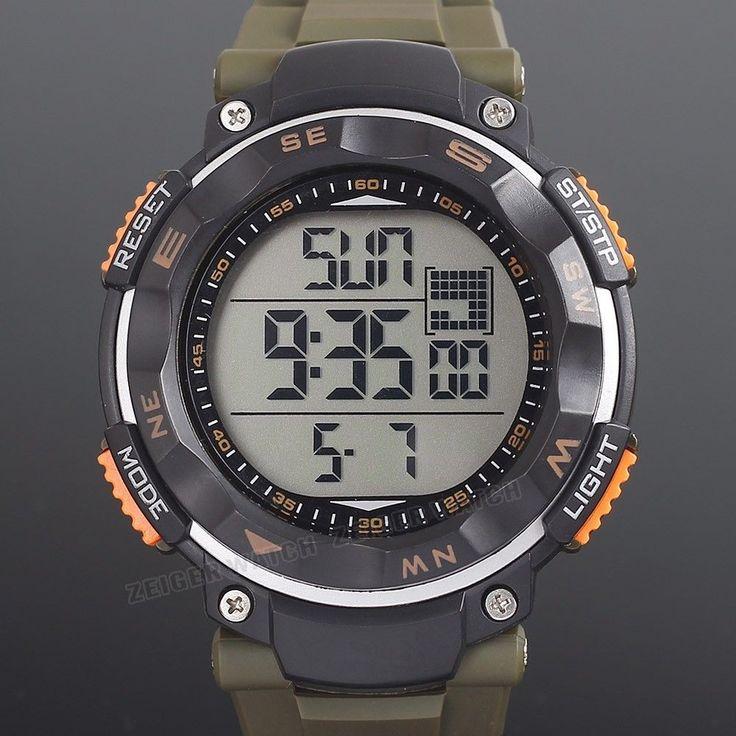 ZEIGER Herren Uhr Sport Uhr Armee Grün Militär Uhr Stoppuhr Alarm Date in Uhren & Schmuck, Armband- & Taschenuhren, Armbanduhren