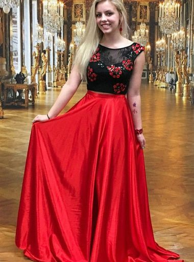 0995c98ff53 A-Line Two Piece Round Neck Red Satin Backless Prom Dress With Lace  Appliques  promdress ...