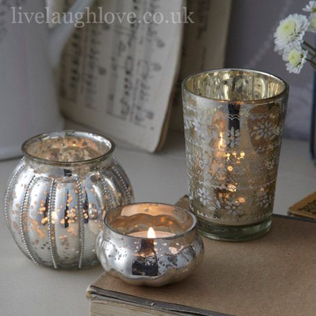 Antique Silver Glass Tea Light Holders - Set of 3
