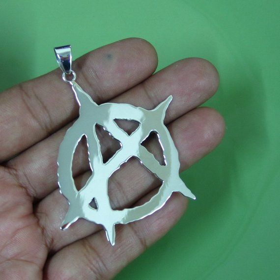 53mm Large Custom 925 Sterling Silver Anarchy Sign Symbol Etsy さくら