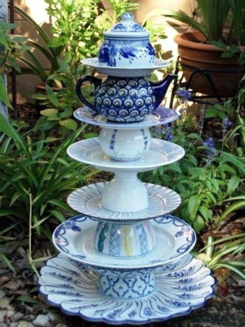 gartendekoration selber machen Porzellan Teller und Kannen