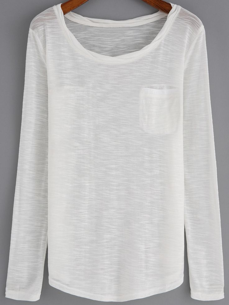 Camiseta cuello redondo manga larga casual-(Sheinside)