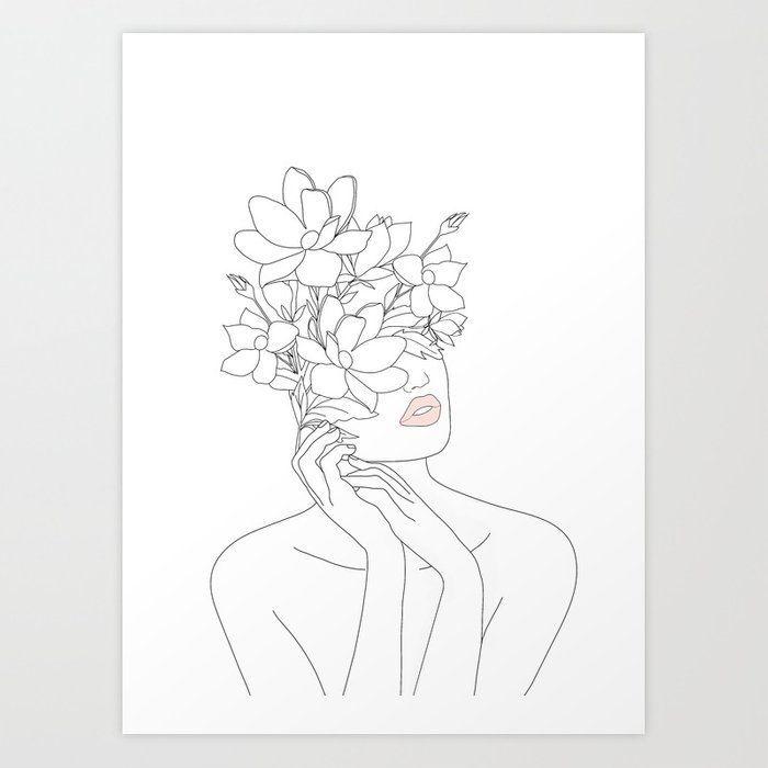 Kaufen Sie Minimal Line Art Woman mit Magnolie Kunstdruck von nadja1. Weltweiter Versand… #kaufen #kunstdruck #magnolie #minimal #nadja1