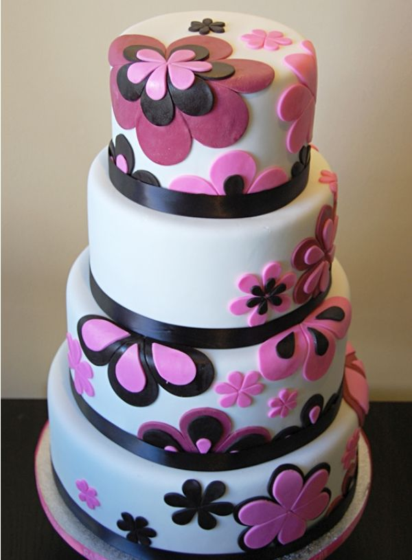 Purple & Pink Flower Cake... Could be easily have the colour adapted...