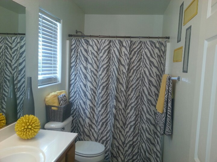 grey yellow bathroom love this