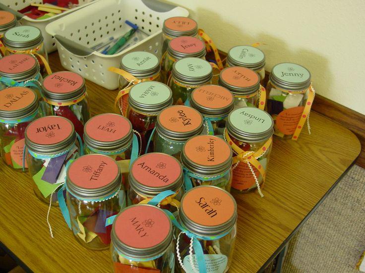 Gratitude Jars. I LOVE this idea :)  Like affirmation bags..