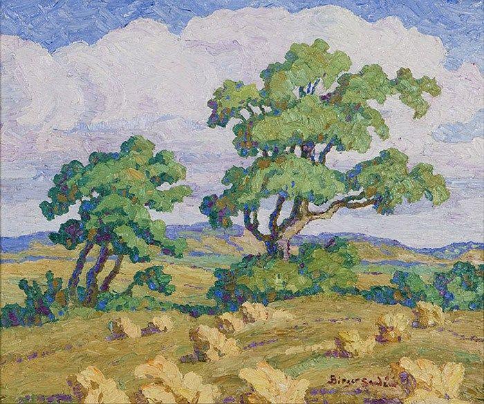 Birger Sandzén - Summer, Lindsborg, Kansas, Two Trees In An Atmospheric Landscape, 1938