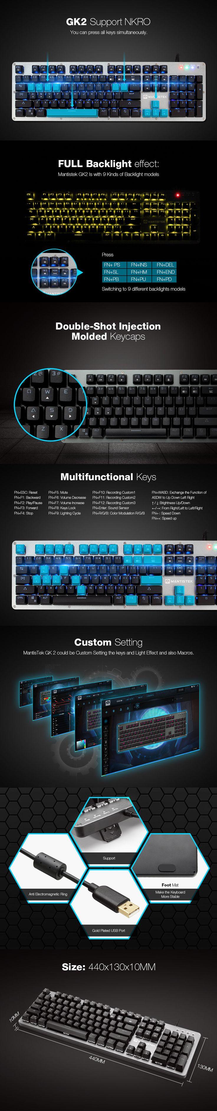 Mantistek® GK2 104 Keys NKRO RGB Blue Red Black Brown Switch Mechanical Gaming Keyboard