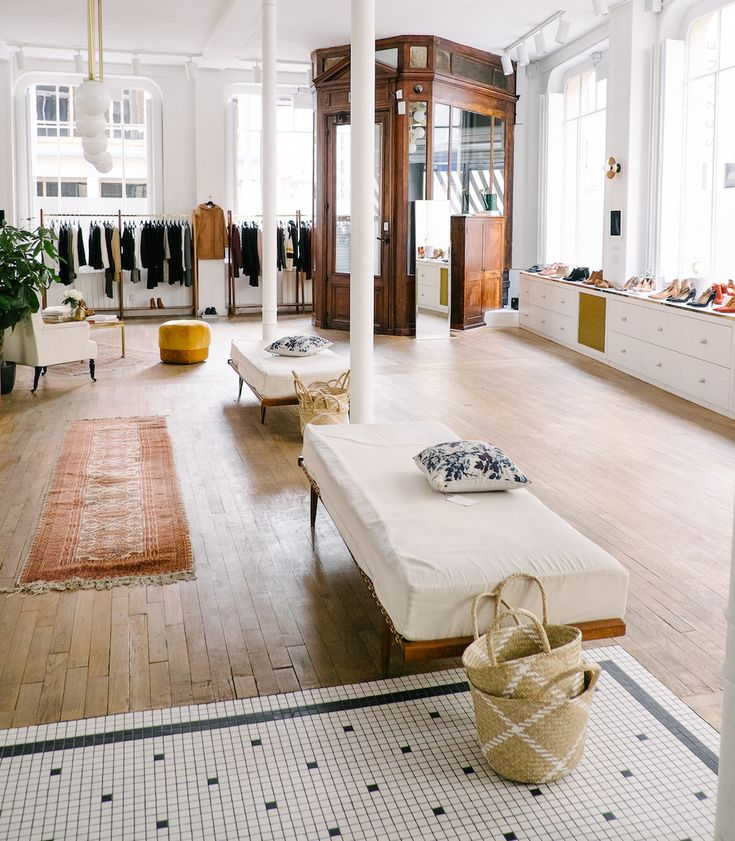 Sezane Store in Paris Sézane's store is a clothing/lifestyle showroom, as well as a hang out space. You can shop, get a coffee, read a book, chill out, whatever you'd like. Hidden inside is a private velvet-seated cinema. It's called l'Appartement.