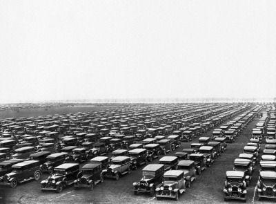 Soldier Field parking lot, 1929, Chicago.