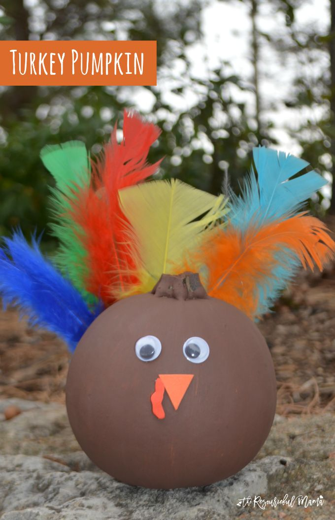 Turn leftover fall and Halloween pumpkins into a turkey for Thanksgivings with paint and a few basic craft supplies.
