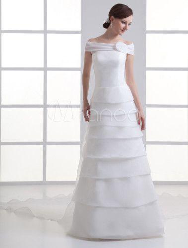 Robe de mariée A-ligne ivoire en organza avec col bateau à traîne courte - Milanoo.com