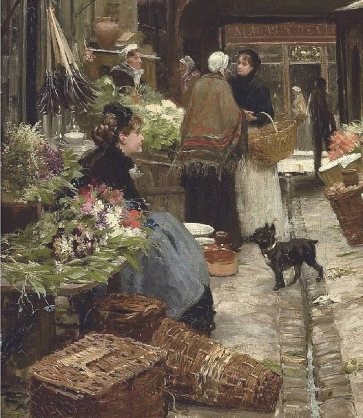 Victor-Gabriel Gilbert (French Academic Painter, 1847-1933) Market day (detal), Victor-Gabriel Gilbert (French Academic Painter,...