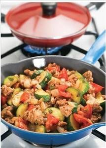 Turkey and Vegetables Skillet: Under 200 Calories, Low Fat, Low Sodium, 19 g Protein. Quick, Easy, and Low Cal.