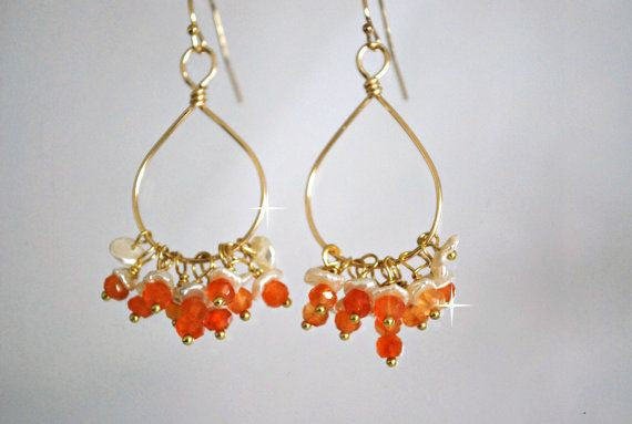 Orange Carneliankeishi Pearls Chandelier  Earrings by ChaninBijoux, $70.00