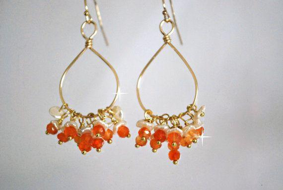 Orange Carneliankeishi Pearls Chandelier  Earrings by ChaninBijoux, $70.00