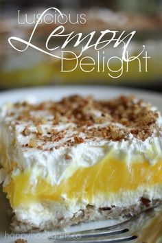 Luscious Lemon Delight Dessert - Perfect dessert for Mother's day, Father's day, family get-togethers, pot-lucks. etc.  Super-easy to make, light and refreshing, and it looks so pretty! Classic dessert recipe that's always popular with kids and adults alike. - Happy Hooligans