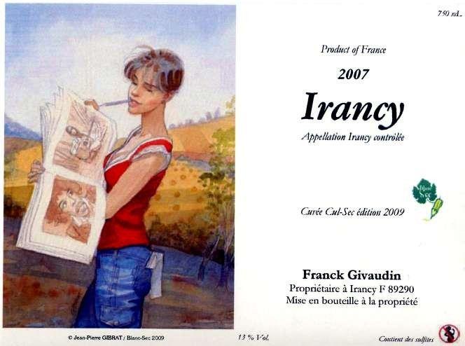 Etiquette de vin - Irancy - Franck Givaudin cuvée 2009