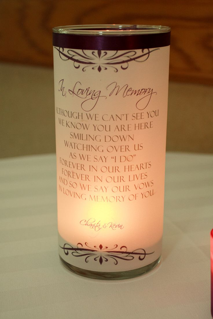 Memory candle...for my mom and jers dad at our wedding. Need this!!
