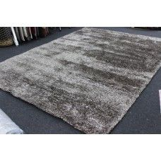 CLEARANCE SUPER SOFT EXTRA THICK KYRA SHAGGY RUG BROWN & WHITE 300X400CM