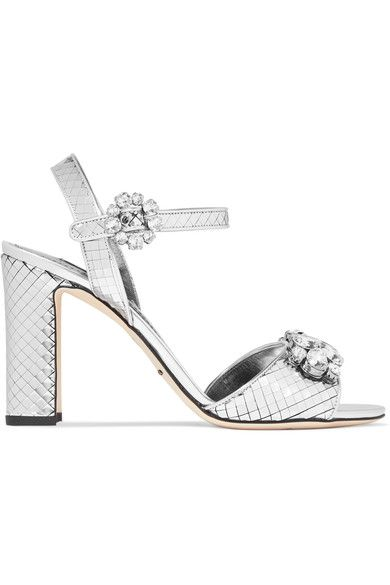 Heel measures approximately 100mm/ 4 inches Silver leather Buckle-fastening ankle strap Made in Italy