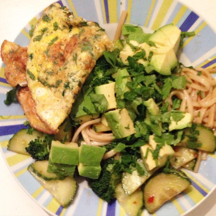 Iedere maand maakt Diëtheek een gezond, lekker en snel recept. Deze maand: noedels met broccoli, avocado, omelet en Japanse dressing.     Ingrediënten voor 4 personen bereidingstijd: 20-30 minuten   180g (Udon) noedels of mie 1 broccoli 1 komkommer 6 eieren 15 g koriander 1 el zonnebloemolie peper&zout 5 el Japanse sojasaus 3 el