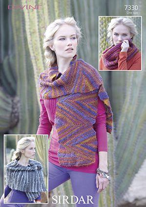 Sirdar 7330 Scarf, Snood/Cowl, & Wrap in Sirdar Divine which is a #4 weight/worsted-aran yarn.