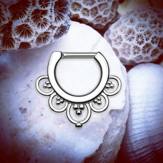 👑💜🌻💖  www.throwbackannie.com  Body Jewellery 💖🌻💜👑 Fleur Silver Clicker | 16G Septum Ring Septum Jewelry Tribal Septum Piercing Indian Nose Ring Cartilage Hoop Conch Upper Ear Helix piercing daith piercing cute body jewellery for girls who want celebrity trends and fashion trends like rihanna style with septum ring and septum jewelry like zoe kravitz septum piercings for fashion bloggers and girly things valentines day gifts silver jewellery flower cute piercing ideas love style