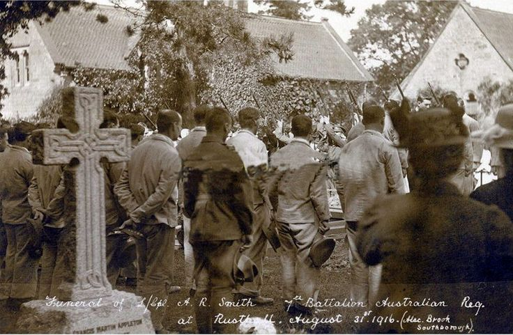 | Funeral of L. Cpl. A.R. Smith 7th Battalion Australian Regiment at Rusthall, Kent, England - August 31st 1916.  Roll of Honour - Australian War Memorial (with photo): www.awm.gov.au/people/rolls/R1662610/  (found on ebay)