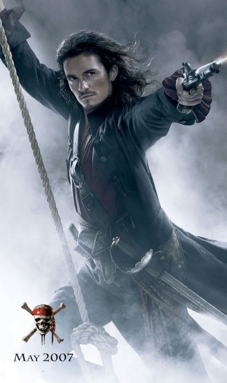 *WILL TURNER, played by: Orlando Bloom in Pirates of the Caribbean: At World's End, 2007,he was so HOT in this movie
