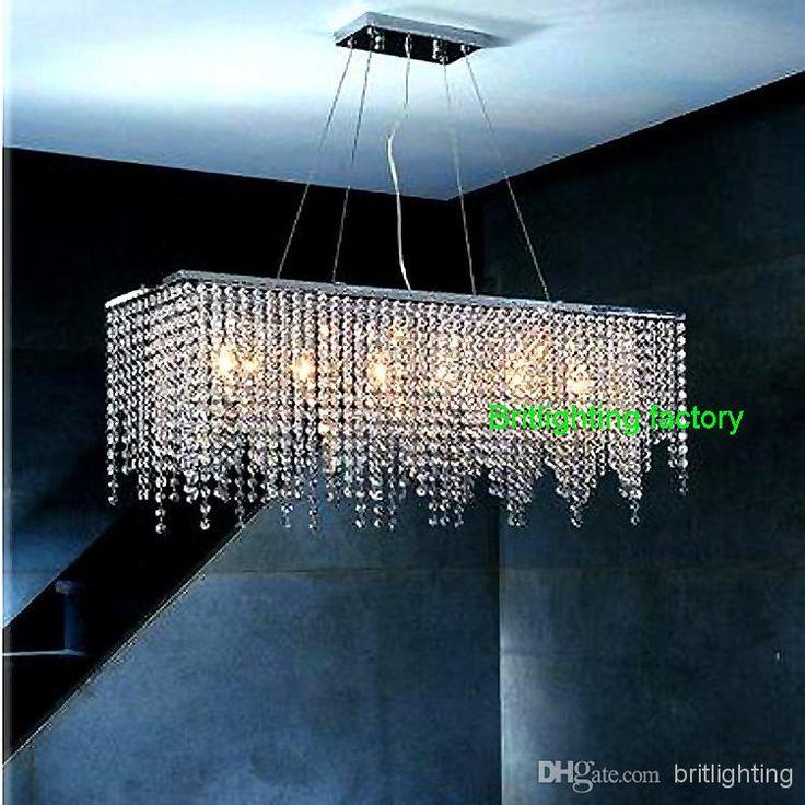 Online Shop Modern Crystal Chandelier Light For Dining Room Led Chandeliers Square Lamp Rectangle Living Lights Curtain