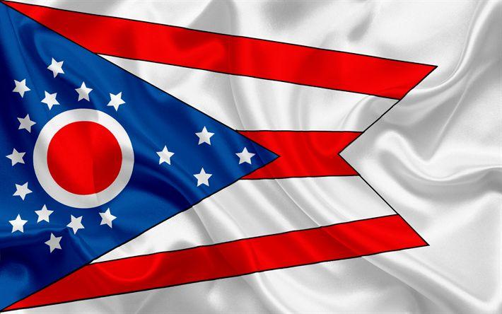 Descargar fondos de pantalla Ohio State Bandera, banderas de los Estados, de la bandera del Estado de Ohio, EEUU, estado de Ohio, bandera de seda
