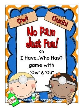 "This is a fun, interactive way for your students to learn to read the 'ow' and 'ou' words in your classroom.The game is in the ""I Have...Who Has?"" format and requires student participation and engagement.Just print, laminate, and enjoy!Add real band-aids with the words written on them with red marker for even more fun!To see this activity in action, visit my blog at:www.mrspreslarsclass.blogspot.com"