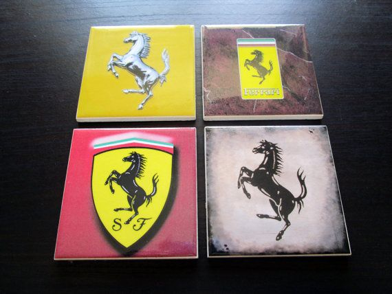 Set of 4 Ferrari Drink Coasters Ceramic Tiles  by TerryTiles2014