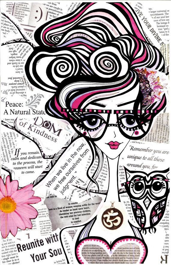 Positive Art and Girls with Owls Art Decor Collection: Emma.  via Etsy.