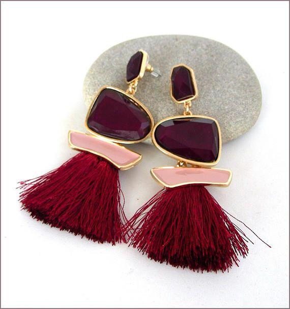 Art-Déco plum crystal / tassel earrings Boucles