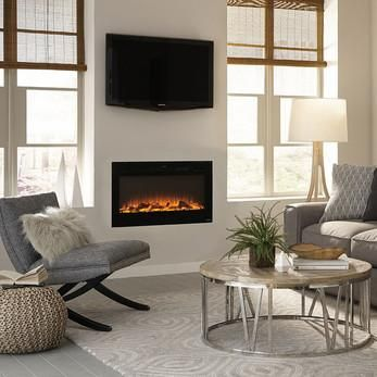 """Touchstone Sideline 36"""" Recessed Electric Fireplace in Black - Wall Insert Design (80014) is a compact version of Touchstone's popular 50-inch Sideline. The Sideline series has become so popular that"""
