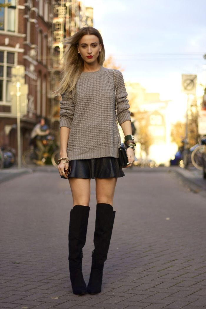otk with mini skirt and chunky knit pullover