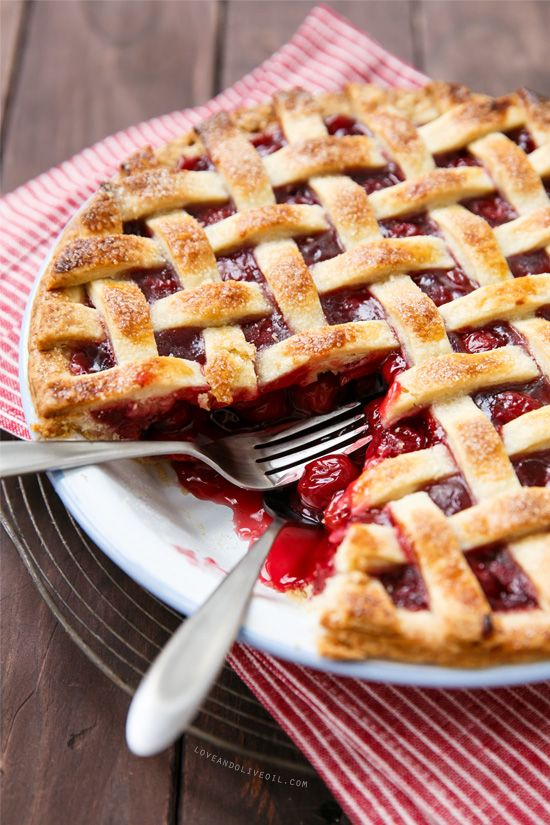 Sour Cherry Pie with Lattice Top from www.loveandoliveoil.com